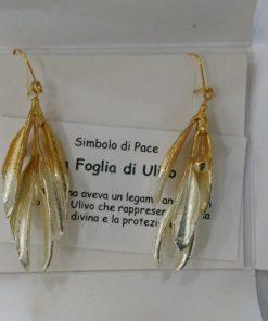 orecchini vera foglia di ulivo