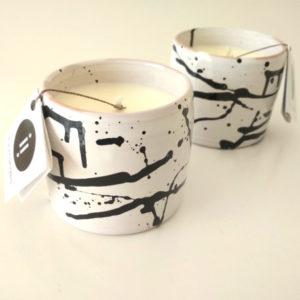 candela naturale con contenitore in ceramica hand made